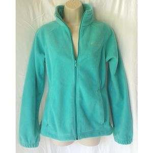 New COLUMBIA teal silver fleece zip front jacket